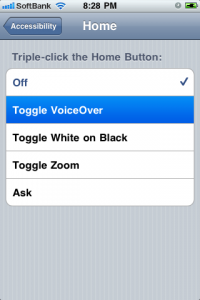 Triple-Click Home: Toggle VoiceOver